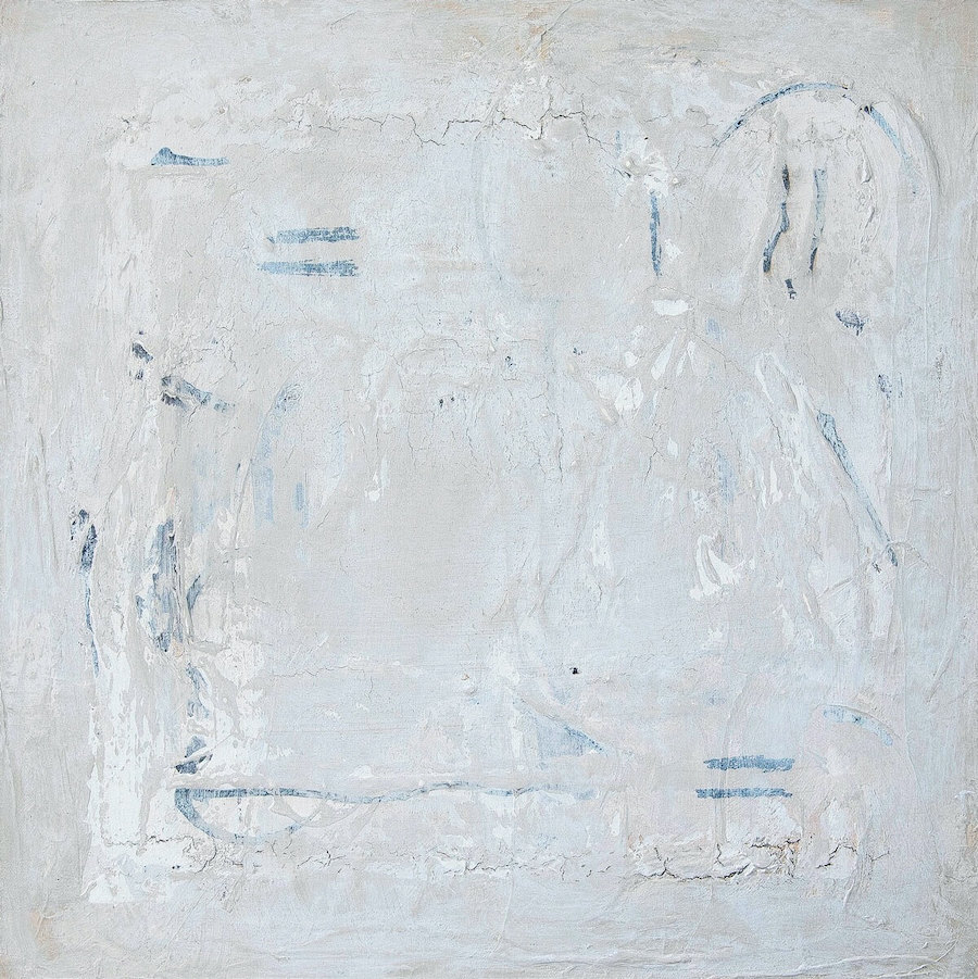 mixed-media-on-canvas light grey in colour with white and blue flecks, lines and visible cracks